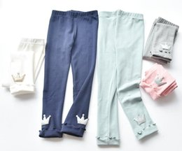 Wholesale Baby Girl Footed Pants - Baby Crown Pants Cotton Leggings with Fashion Rolled Hem Foot 5Color White Pink Gray Easy Match Clothes