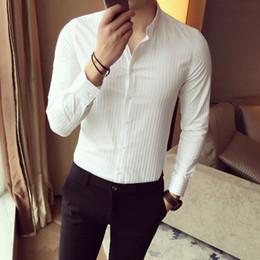 Wholesale Wholesale Men Business Shirts - Wholesale- Business Men Shirt Solid Turn down Collar Slim Long Sleeve Dress Shirts White Black Solid Stripe Spring Designer Shirts Man