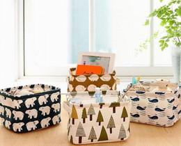 Wholesale Wholesale Storage Cabinets - Cute Printing Cotton Linen Desktop Storage Organizer Sundries Storage Box Cabinet Underwear Storage Basket 2017 Christmas Gift