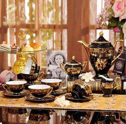 Wholesale Glazed Ceramic Flower - 2017 Classic Porcelain 15pcs Gold Flower Afternoon Tea New Bone china Mug European Ceramic Coffee Cup Saucer Tea Sets Tea Pot Jug Drinkware