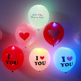 Wholesale Pink Led Light Balloons - Love Series Wedding LED Balloons Birthday Party Proposal Wedding Light Decoration Luminous Balloons Flashing Light Latex