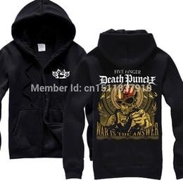 Wholesale Heavy Fleece Jacket - Wholesale-2 designs Five Finger Death Punch tracksuit Rock hoodies zipper fleece jacket 5FDP punk hardrock heavy metal skull sudadera