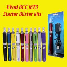Wholesale Electronic Cigarettes Rechargable - High Quality EVod BCC MT3 Starter Blister kits pack Electronic Cigarette mt3 Rechargable atomizer eVod Battery 650mah 900mah 1100mah DHL