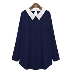 Wholesale Peter Pan Blouses - Singwing Women Peter Pan Collar Long Sleeve Blouse Shirts Casual Style Cotton Shirts Lady's Spring Blouses Shirt