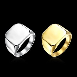 Wholesale Steel Tail - Men's Ring Stainless Steel Finish Polished Square Men Ring Domineering Single Index Finger Wide Tail Ring