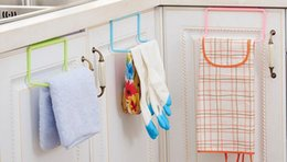 Wholesale bathroom hangers towels - New Over Door Tea Towel Holder Rack Rail Cupboard Hanger Bar Hook Bathroom Kitchen Top Home Organization Candy Colors