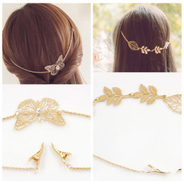 Wholesale Hair Band For Types - Fashion Gold Color Leaves Rhinestone Hair Chain Wedding Hair Jewelry For Women Butterfly Hair Band Decorate Ornament Headband 2 Types