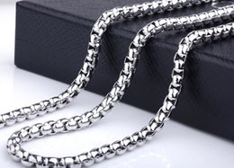 silver box chain 18 Promo Codes - on sale Jewelry Stainless Steel men's Boys women Necklace Square Box Link chain silver tone polished for gifts 6mm wide 18''-32 inch choose