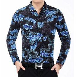 Wholesale Men Office Shirts - Wholesale- 2016 Autumn Fashion Men's Flower Shirt Printed Long Sleeve Shirt Men High Quality Casual Trend Mens Office Shirts Plus Size 7XL
