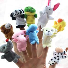 Wholesale Happy Plush - 10 Pcs lot Baby Plush Toys Cartoon Happy Family Fun Animal Finger Hand Puppet Kids Learning & Education Toys Gifts