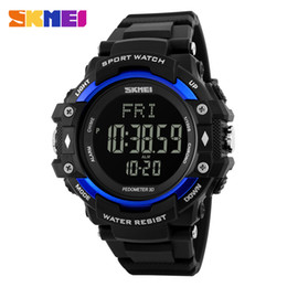 Wholesale Heart Rate Monitors Calorie Counter - Wholesale- SKMEI Men Sports Health Watches 3D Pedometer Heart Rate Monitor Calories Counter 50M Waterproof Digital LED Wristwatches 1180