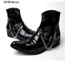 Wholesale Men Punk Boots Buckle - Wholesale- CDTS Plus:37-43 Autumn 2016 Male pointed toe Ankle Martin boots fashion leather punk boats men's Motorcycle chain buckle shoes