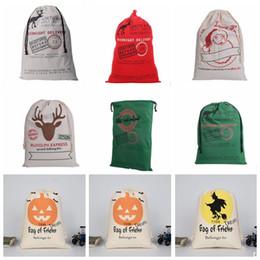 Wholesale Wholesale Santa Sacks - Christmas Gifts Bags Santa Claus Drawstring Bags Reindeers Christmas Sack Bags Halloween Storage Bag 14 design KKA2124