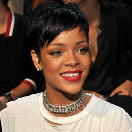 Wholesale Celebrities Human Full Lace Wigs - Celebrity wig Hair Natural Black Short Pixie Wigs Cheap human full none lace front Short Cut Wig For Black Women