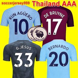 Wholesale Cities Xl - Thailand quality 17 18 De Bruyne MENDY soccer jerseys Adult men 2017 2018 KUN AGUERO city football shirt BERNARDO SILVA Camiseta uniforms