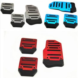 Wholesale manual covers - 3 PCS Aluminum Anti-slip Car Manual Transmission Red To Blue And Silver Cover Brake Clutch Pedal Accelerator