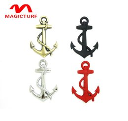 Wholesale Black Exterior Doors - New Black Silver Gold Top Quality Boat Anchor Solid Zinc Alloy Car Styling Emblem 3D Sticker  Grille Cool Exterior Hot Selling