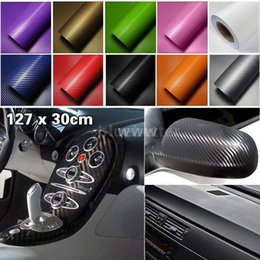 Wholesale Upgrading Windows - Upgraded 127*30CM 3D Auto Carbon Fiber Vinyl Film Carbon Car Wrap Sheet Roll Film Paper Motorcycle Car Stickers Decal Free Shipping