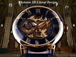 Wholesale Leather Case Fashion Logo - 3d Logo Design Hollow Engraving Black Gold Case Leather Skeleton Mechanical Watches Men Luxury Brand Heren Horloge