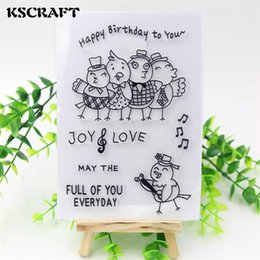Wholesale Happy Birthday Scrapbooking - Wholesale- KSCRAFT Happy Birthday Transparent Clear Silicone Stamp Seal for DIY scrapbooking photo album Decorative clear stamp sheets