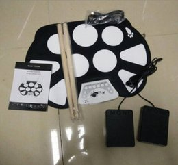 Wholesale Desktop Drums - Wholesale- SYDS Digital PC Desktop USB Silicon Foldable Roll Up Drum Pad Kit With Stick New Arrival