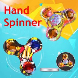 Wholesale First Movies - HOT Hand Spinner Toy Fidget Spinner metal diamond camouflage spinner fidget world's first American anxiety Toys father's day gift