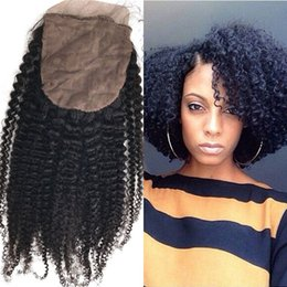 Wholesale Indian Curly Silk Base Closure - Brazilian Virgin Hair Closures with Baby Hair 8-22 inch Natural Color Afro Kinky Curly Silk Base Closure FDSHINE
