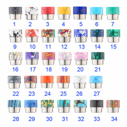 Wholesale Beautiful Electronic Cigarettes - 34 Colors Turquoise Drip Tip Beautiful Tophus Stone Wide Bore Mouthpieces Fit 528 Atomizer Electronic Cigarette