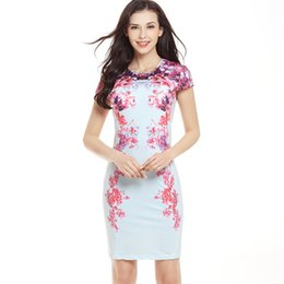 Wholesale Tight Mini Skirt Dresses - 2017 new sexy slim short-sleeved printing dress fashion tight hip hip pen skirt casual dress manufacturers wholesale