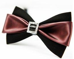 Wholesale Handmade Wool Dresses - 2018 Bow tie male pu leather pattern deep purple British bow tie dress wedding bridegroom Korean version of the wave