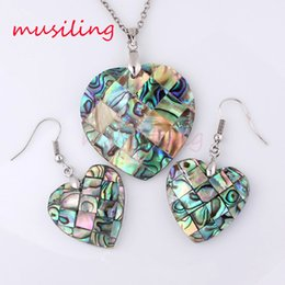 Wholesale Mothers Jewelry Charms - Jewelry Sets Necklace Pendants Earrings Natural Abalone Shell Jewelry Set Accessories Fashion Charms Amulet Jewelry For Women