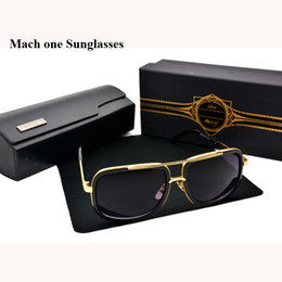 Wholesale Oval Shaped Silver Frame - NEW sunglasses Mach One brand designer square shape retro vintage summer style men sun glasses shiny gold with cases and box