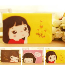 Wholesale Three Dimensional Cards - Wholesale- 2017 Cute Smile Girl Card Package 12 Screens Credit Card Bus Card Holder Coffe Color