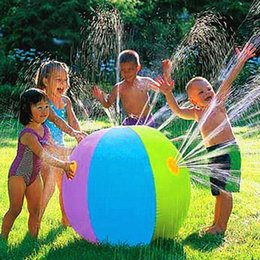Wholesale Inflatable Beach Ball Toy - Wholesale-Inflatable Spray Water Ball Children's Summer Outdoor Swimming Beach Pool Play The Lawn Balls Playing Smash It Toys