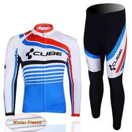Wholesale Cube Mtb - 2017 CUBE Cycling thermal fleece Jersey Long Sleeve Set Bike Wear winter bicycle Clothing mtb Riding Outdoor Sportswear D1305