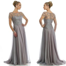 Wholesale Grey Evening Gown Jacket - Best Sellings Grey Mother Of The Bride Dresses With Cap Sleeve A Line Beaded Long Chiffon Bridal Party Gown Long Formal Evening Dress