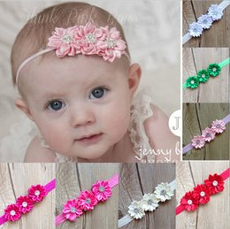 Wholesale Green Photographs - Wholesale- Baby 2 layer with diamond Polyhedrosis flower hair accessories headdress Elastic hair band Headwear Baby photographed props A309