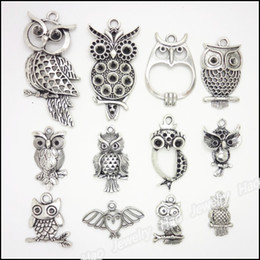 Wholesale Owl Metals - mixed 48 pcs Vintage Charms Owl Pendant Antique silver Fit Bracelets Necklace DIY Metal Jewelry Making