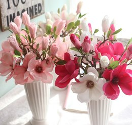 Wholesale Home Handmade - Artificial silk flower magnolia in 6 colors handmade flowers magnolia for home and wedding decoration vivid and delicate
