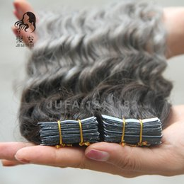Wholesale Hair Extensions Tape Curly - Ombre Tape In Human Hair Extensions 7A Unprocessed Brazilian Malaysian Peruvian Deep Curly Virgin T1B Silver Grey Skin Weft Remy Hair 40pcs