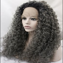 "Wholesale Celebrity Heat - Free Shipping 26"" Ombre Extra Long Grey Blonde Curly Wig 150% Density Heat Resistant Fiber Celebrity Lace Front Wig for Black Women"