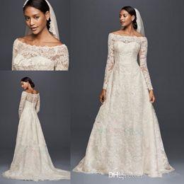 Wholesale Outdoor Short Wedding Dress - 2017 Oleg Cassini Modest Vintage Wedding Dresses with Long Sleeves Lace Applique Off-shoulder Garden Outdoor Plus Size Bridal Gowns