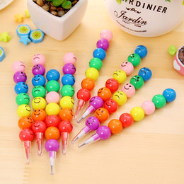 Wholesale Sugar Pencils - Wholesale- 7 Colors Crayons Creative Sugar-Coated Haws Cartoon Smiley Graffiti Pen Stationery Gifts For Kids Wax Crayon Pencil 7 Colors