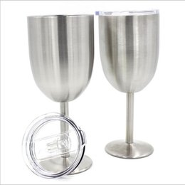 Wholesale Goblet Metal - With Lid Wine Glasses Stainless Steel Tumber 400ML Double Wall Insulated Metal Goblet Tumbler Mugs Kitchen Champagne Cocktail Cups
