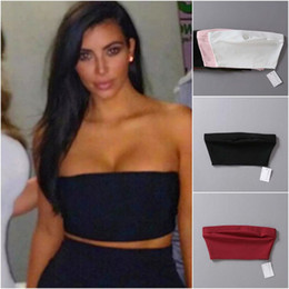 Wholesale Seamless Bandeau - high elasticity Tube Top bra Women Summer Strapless Bandeau Top Sexy beach seamless Crop Top Black white Beige pink red