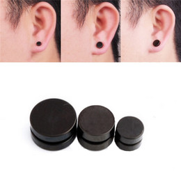 Wholesale trendy ear cuffs - New Magnetic Earrings Black Titanium Steel Mens Women Trendy Round Ear Clip Stud No Piercing Ear Cuff Body Jewelry 6mm 8mm 10mm
