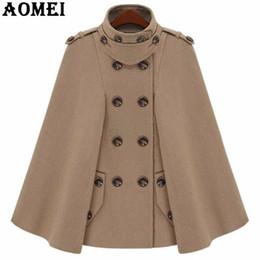Wholesale Camel Coat For Women - Fashion Camel Color Woolen Coats Cloak for Women Workwear Winter Office Lady Outwear Double Button 2017 New Autumn Overcoat Cape