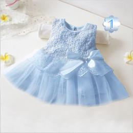vestidos geométricos del boutique Rebajas Vestido de la muchacha del arco del bebé vestido de princesa niños del remiendo del cordón vestidos sin mangas de la muchacha de la flor del vestido del partido ropa de moda de los niños A080