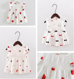 Wholesale Embroider Baby Dress - Girl Dresses 2017 Summer Baby Strawberry Bowknot Printing Dresses Infant Cartoon Princess Dress Boats Sleeve Embroidered Kids Clothing