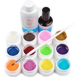 Wholesale Cleanser Plus - Wholesale- 2016 New Glittery 12 UV Gel Builder Nail Art Cleanser Plus Top Coat Set Tips Kit